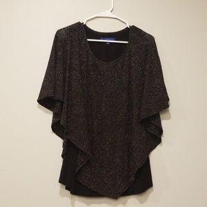 Black kimono-like top with silver accent